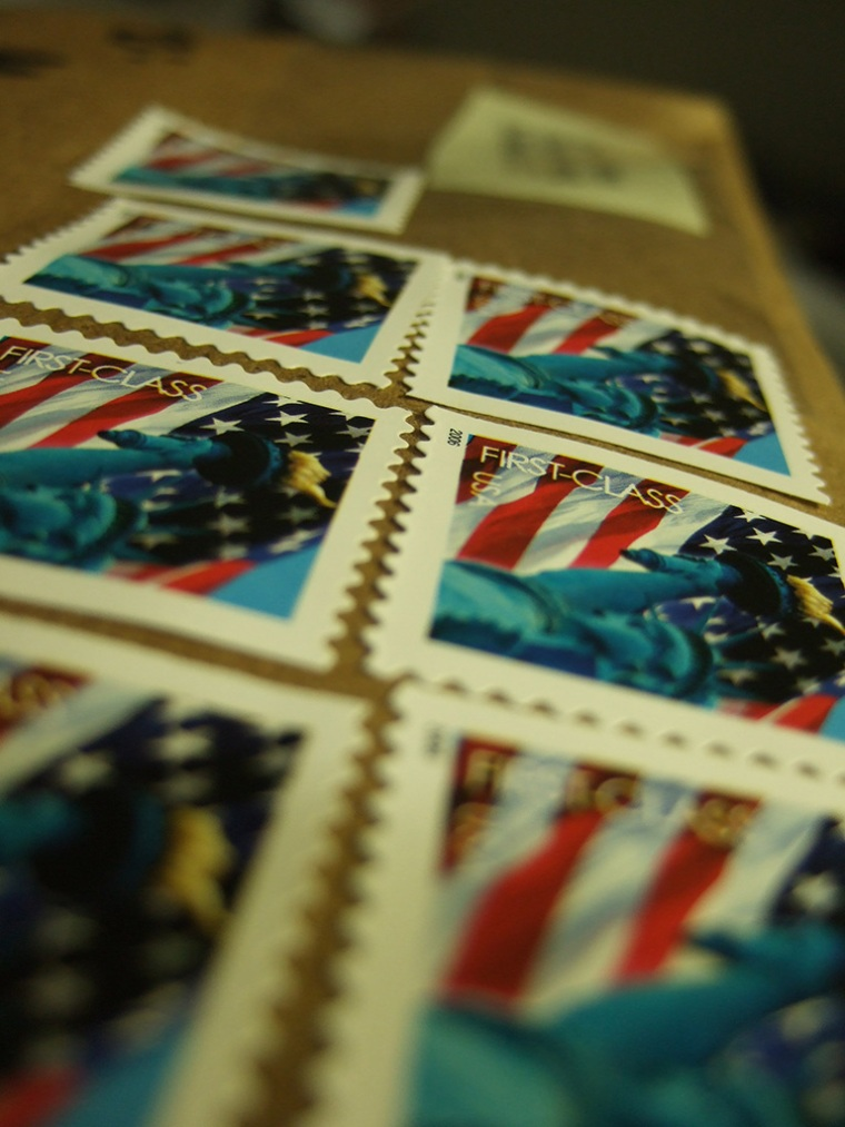 Postage on a package